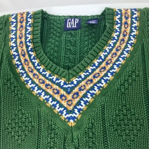 Gap Cotton Cable Knit V-Neck Green Sweater